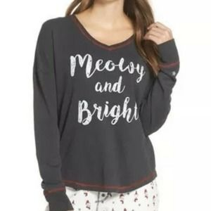 PJ Salvage Meowy and Bright Thermal Pajama Top M